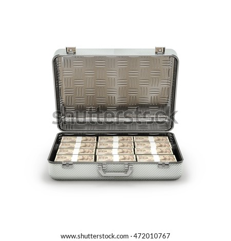 Briefcase ransom yen / 3D illustration of stacks of ten thousand yen notes inside metal briefcase