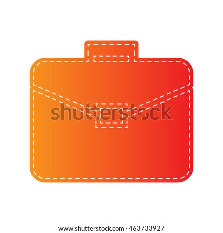 Briefcase sign illustration. Orange applique isolated.