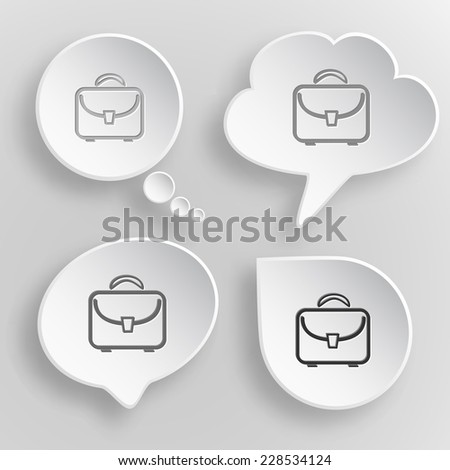 Briefcase. White flat raster buttons on gray background. - stock photo