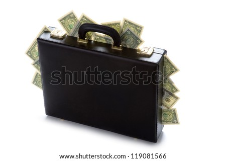 briefcase with american dollars protruding