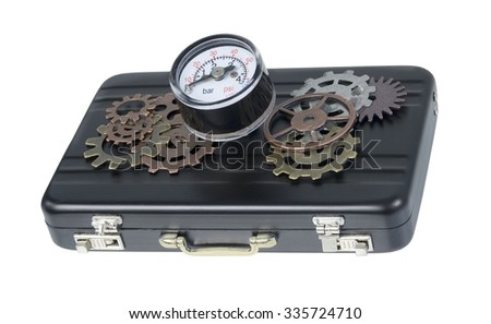 Briefcase with gauge and gears used to show business pressure - path included - stock photo