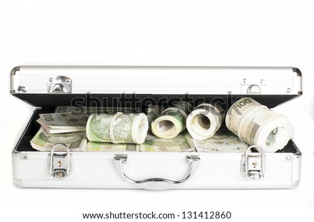 briefcase with money - stock photo