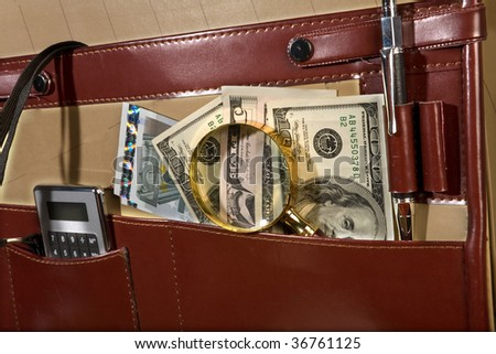 Briefcase with money. Financial concept.