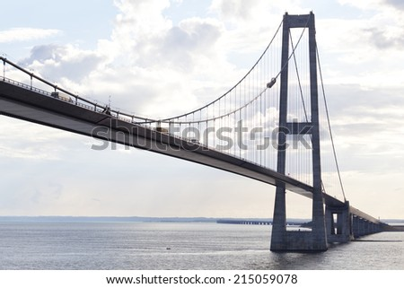 Brigde crossing the Belt in Denmark - stock photo
