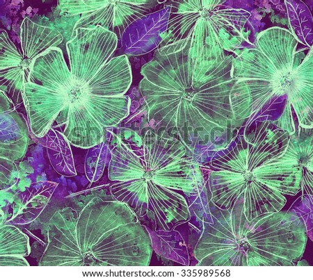 Bright abstract background with flower elements - stock photo
