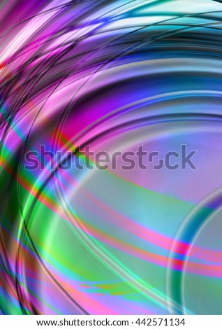 Bright abstract background with intersecting illuminated arcs and wavy stripes   - stock photo