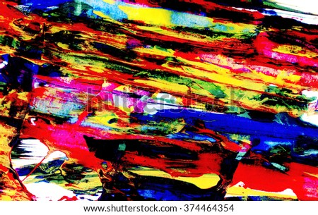 Bright abstract diagonal smeared lines of acrylic paint on white paper - stock photo