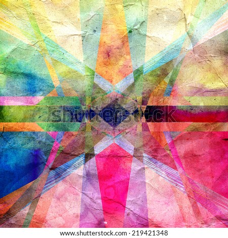 bright abstract graphic background with different geometric elements