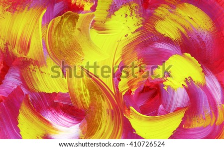 Bright acrylic background, yellow and pink colors, hand painted - stock photo