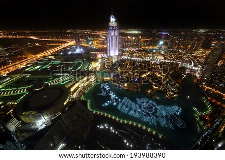 bright and beautiful view to dubai city - stock photo