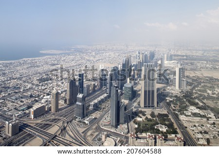 bright and beautiful view to dubai city - stock photo