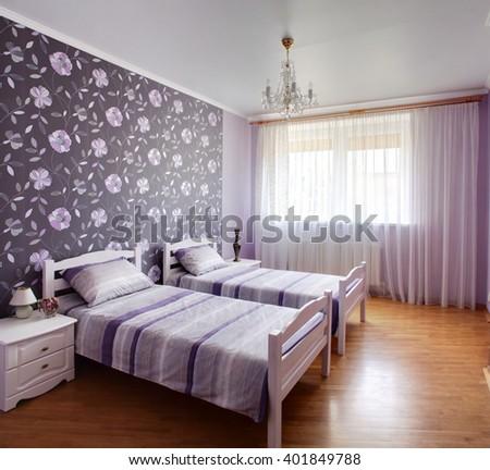 bright and brand new interior of european bedroom. Modern Bedroom Interior Design Classic Elements Stock Illustration