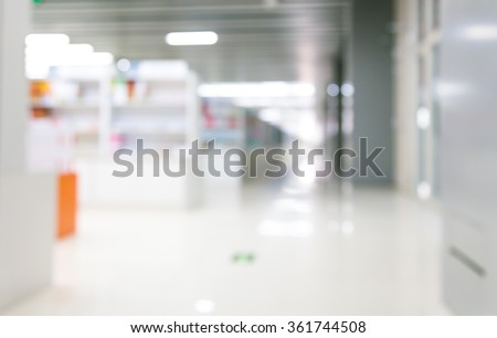Bright and clean bookstore within, abstract background. - stock photo