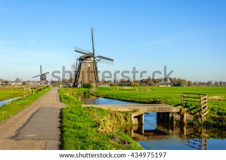 Bright and colorful image of a polder landscape with two wind mills in the Netherlands on a sunny day in the fall season.