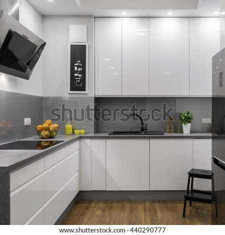 Bright and comfortable designed kitchen in modern apartment