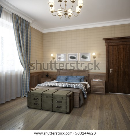 Bright And Cozy Boysu0027 Kids Room Interior Design In Traditional Classic  Marine Style. 3d