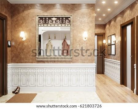 Bright And Cozy Classic Modern Hall Interior Design Beige Decorative Plaster Walls White Fretwork Wall