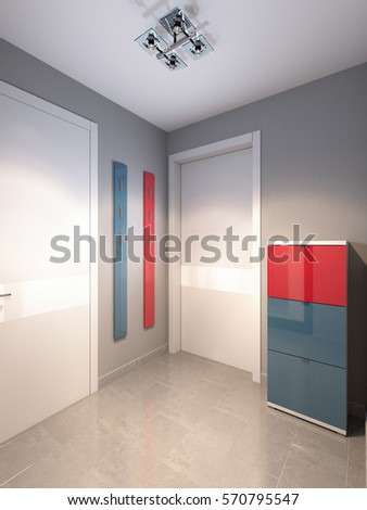 Bright and cozy hall in the modern minimalistic style with gray walls, white and black doors. 3d render