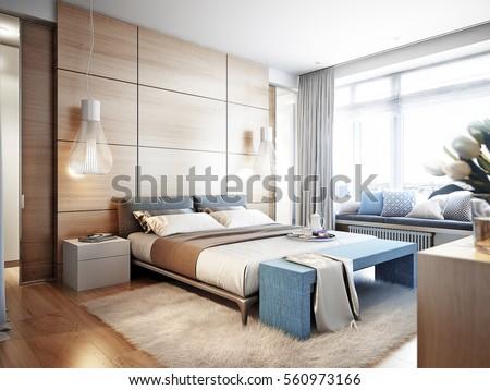 Bright Cozy Modern Bedroom Dressing Room Stock