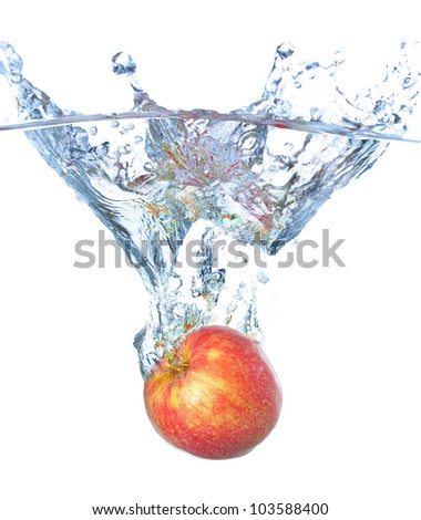 Bright and juicy red apple. Fresh and healthy meal - stock photo