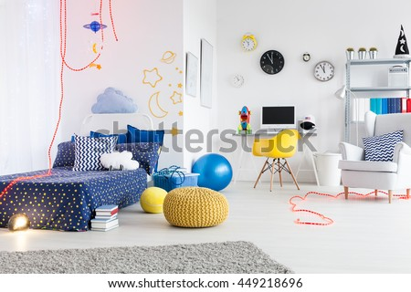 Bright Spacious Child Room Divided Into Stock Photo Royalty Free