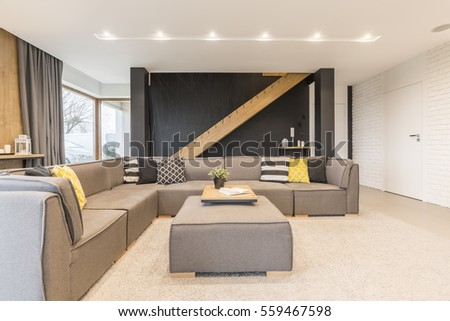 Bright and spacious room with corner sofa