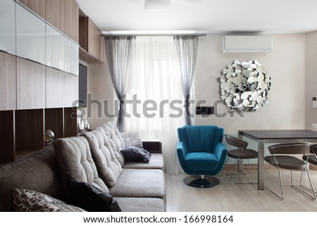 bright and stylish european interior with furniture - stock photo