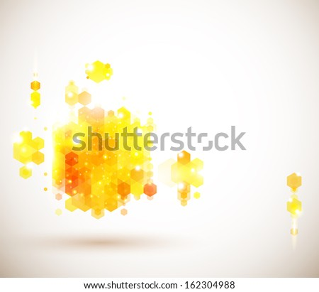 Bright and sunny page layout for your presentation. Geometric background with hexagons.  - stock photo