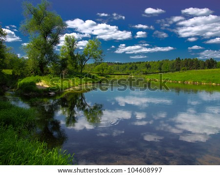 Bright and vibrant summer countryside landscape in Russia.