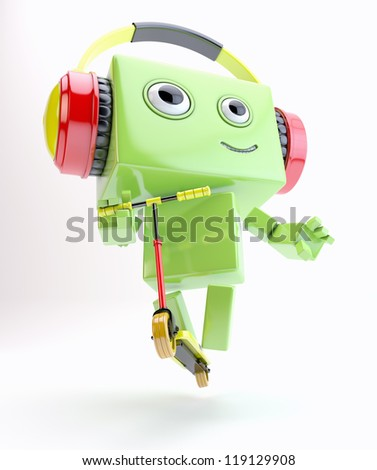 Bright android making feint on scooter and listening music in headphones / Robot on scooter