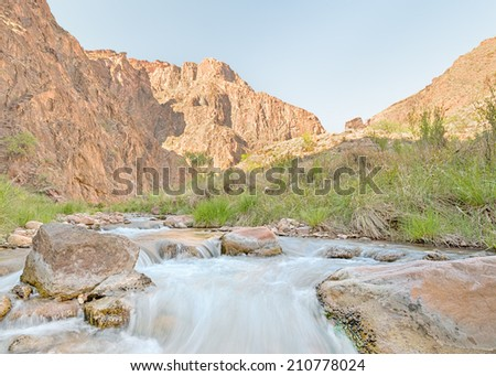 Bright Angel Creek, Phantom Ranch, Grand Canyon National Park, AZ - stock photo