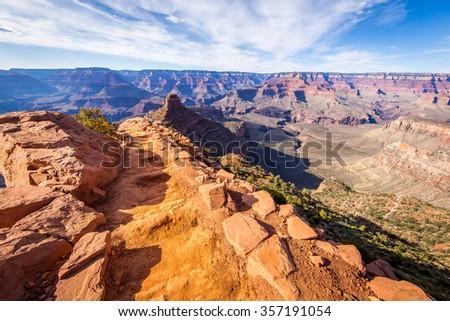 Bright Angel Trail, Grand Canyon, South Rim - stock photo