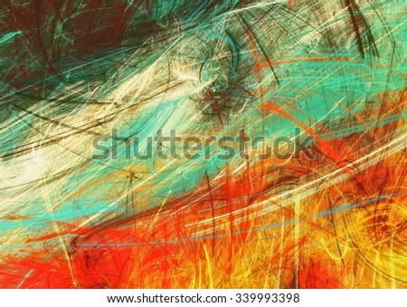 Bright artistic splashes. Abstract painting texture in summer color. Modern futuristic pattern. Warm dynamic background. Fractal artwork for creative graphic design - stock photo