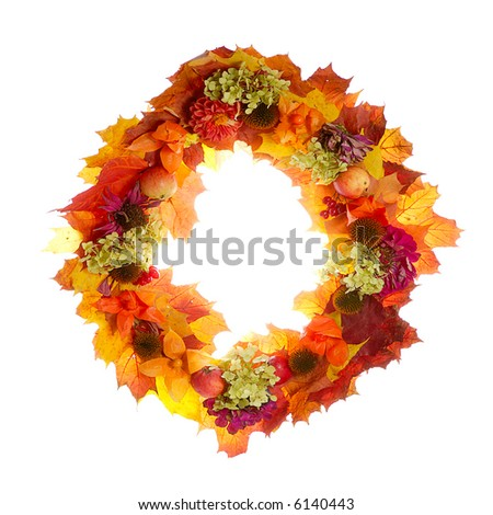 bright autumn garland with leaves, flowers, fruits isolated on white