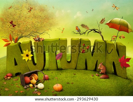 Bright autumn landscape field background for a poster or illustration.   - stock photo