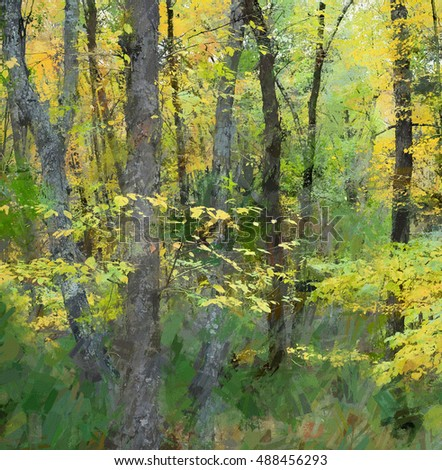 Bright Autumn photograph of the Poconos woods turned into a square cropped abstract painting