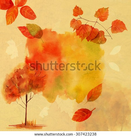 Bright autumn postcard or banner with vivid watercolor leaves drawings, with a place for text - stock photo