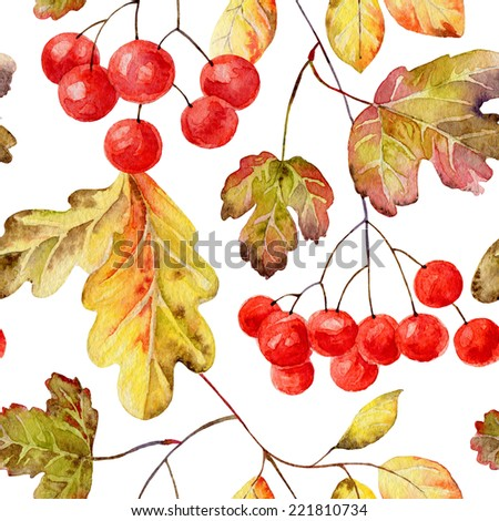 Bright autumn seamless pattern with gold leaves and berries of viburnum. Watercolor illustration