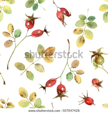 Bright Autumn seamless pattern with leaves and berries rosehip. Watercolor illustration