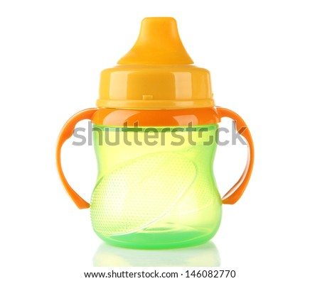 Bright baby bottle isolated on white - stock photo