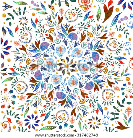 Bright background picture with oil paints. Colorful mosaic. Small floral ornament. Flower pattern. Background bright picture. The finished pattern on the shawl. Painting on fabric. - stock photo