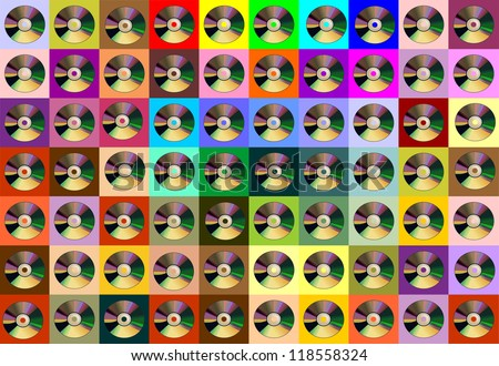 bright background with compact discs - stock photo
