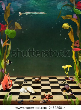 Bright background with flowers and sea animals underwater - stock photo