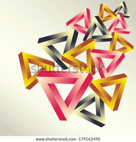 Bright background with the optical illusion executed in the form multicolored impossible falling triangles - stock photo