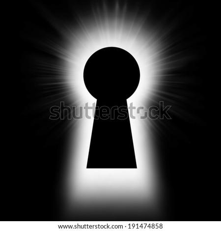 Bright backlight through the keyhole - stock photo