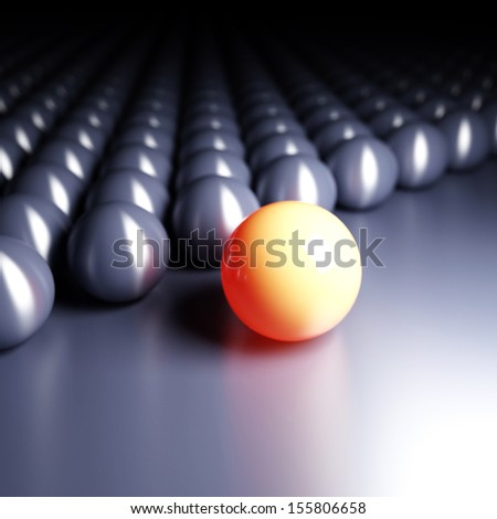 Bright ball ahead of dark balls. Conception of leadership