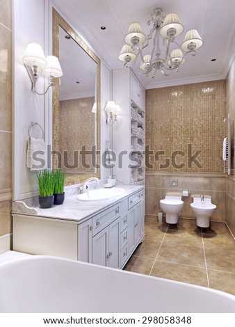 Bright bathroom classic style. Charming spacious bathroom with a large mirror. White bathroom furniture and mosaic wall tiles beige color. 3D render