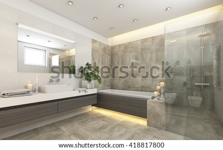 Bright Bathroom In Grey With  Candles 3d rendering - stock photo