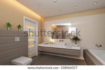 Bright Bathroom With Grey Wood 3d Rendering