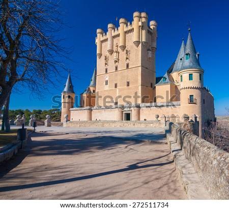 Bright Beautiful Image of the Historic Castle in Segovia, Spain - stock photo